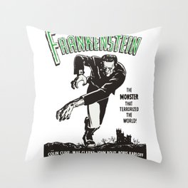 Frankenstein Vintage 1931 Movie Poster, Original Gift Idea, Boris Karloff, Bela Lugosi, Dracula Throw Pillow