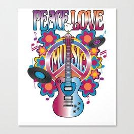 Peace-Love-Music Canvas Print