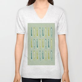 leeks on sage background Unisex V-Neck