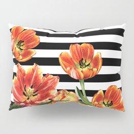 Red Orange Tulips Black Stripes Chic Pillow Sham