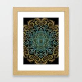 Teal and Gold Mandala Swirl Framed Art Print