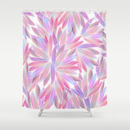 Trendy girly pink lavender coral watercolor floral Shower Curtain