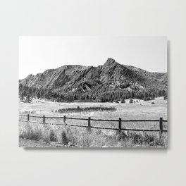 Flatirons Boulder // Black and White Colorado Mountains Snow Dust Fence Line Metal Print