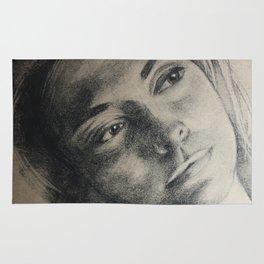 Coal portrait beautiful girl with sorrow sigth Rug