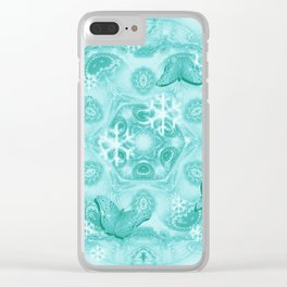 Butterflies and snow in blue Clear iPhone Case