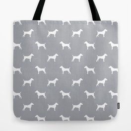 Jack Russell Terrier grey and white minimal dog pattern dog silhouette pattern Tote Bag