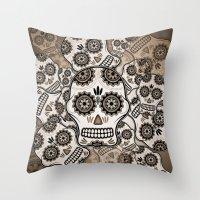 sugar skulls Throw Pillows featuring Sugar skulls by nicky2342