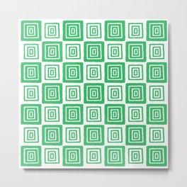 Mid Century Modern Geometric Checker 821 Green Metal Print