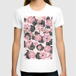 Girly Blush Pink and Black Watercolor Flowers T-shirt