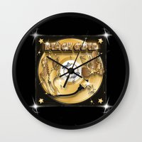 black and gold Wall Clocks featuring Black Gold by Nikola Kolobaric