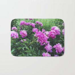 Pink Peonies in Garden Tilt Shift Bath Mat