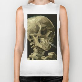 Skeleton with Burning Cigarette Biker Tank