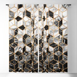 Marble Cubes - Black and White Blackout Curtain