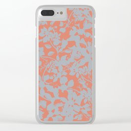Floral Silhouette Pattern - Broken but Flourishing in Coral Clear iPhone Case