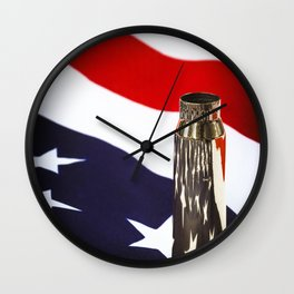Red White and Brass the American Flag and a 20mm brass Casing reflections Wall Clock