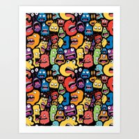 monster Art Prints featuring Monster Faces Pattern by Chris Piascik