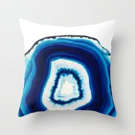 Blue Agate Geode Slice Throw Pillow