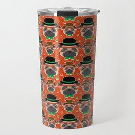 Hipster Pug Pattern Travel Mug