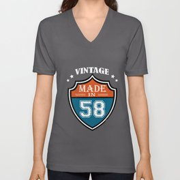 Vintage Made In 58 1958 Birthday Gift Unisex V-Neck