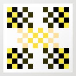 Yellow Pixel Art Print