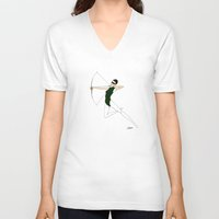 archer V-neck T-shirts featuring Green archer by Constance Macé