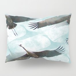 Abstract Whooping Cranes Pillow Sham