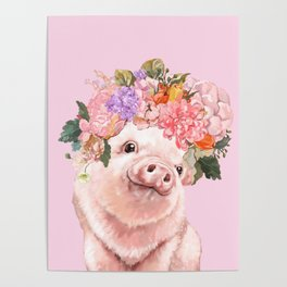 Baby Pig with Flowers Crown Poster
