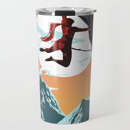 Rock Climbing Girl Vector Art Travel Mug