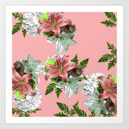 LILY PINK AND WHITE FLOWER Art Print
