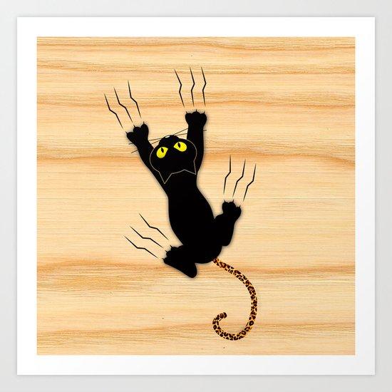 Cat Climbing Art Print