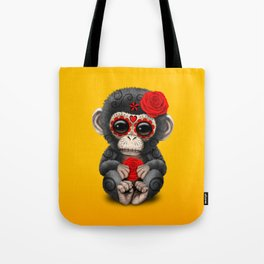 Red and Yellow Day of the Dead Sugar Skull Baby Chimp Tote Bag
