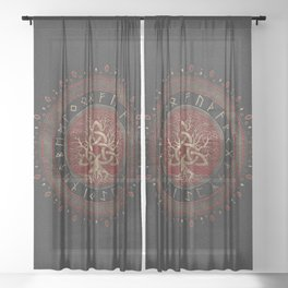 Tree of life with Triquetra Black Red Leather and gold Sheer Curtain