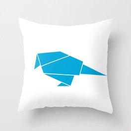 Little bird origami Throw Pillow