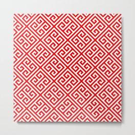 red, white pattern, Greek Key pattern -  Greek fret design Metal Print
