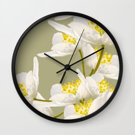 White Flowers On A Light Green Background #decor #buyart #society6 Wall Clock