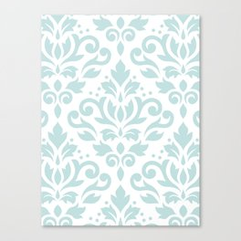 Scroll Damask Lg Pattern Duck Egg Blue on White Canvas Print