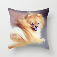 pomeranian Throw Pillows featuring PRECIOUS POMERANIAN by Allyson Johnson
