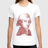 mozart T-shirts featuring Amadeus Mozart portrait by Stavros Damos