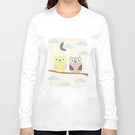 owls on a branch Long Sleeve T-shirt