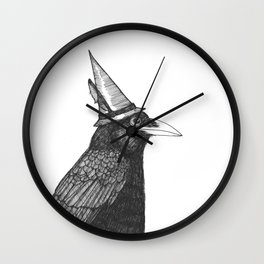 Willem Dacrowe Crow Wearing a Witch's Hat Wall Clock