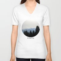 breathe V-neck T-shirts featuring breathe by Badamg