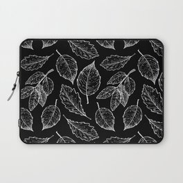 Autumn Leaves Black & White Pattern Laptop Sleeve