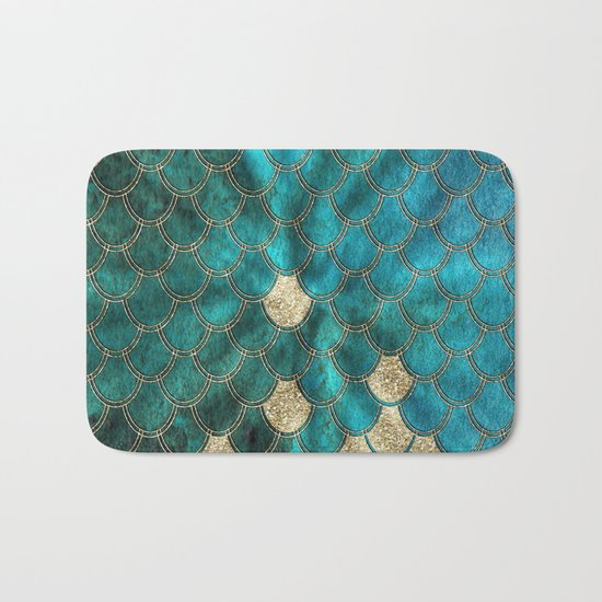 Multicolor aqua and gold mermaid scales -  Beautiful abstract pattern Bath Mat