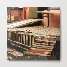 Old books on the street Metal Print
