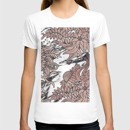 Chic Rose Gold Flowers Leaves and Modern Marble T-shirt