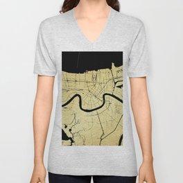 New Orleans Black and Gold Map Unisex V-Neck
