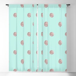 Happy Polka Dots Rose Gold on Mint #1 #decor #art #society6 Blackout Curtain