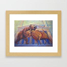 Bear vs Bull Framed Art Print