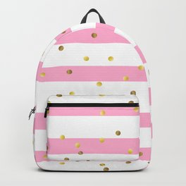 Christmas White and Pink and Christmas Golden confetti Backpack