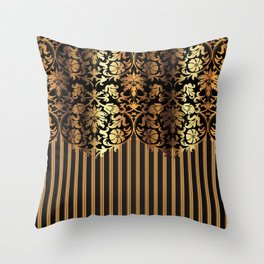 Gold and Black Damask and Stripe Design Throw Pillow